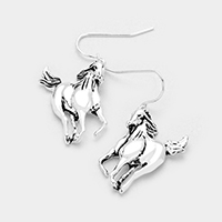 Running Horse Metal Earrings
