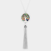 Abalone Tree of Life Pendant Drop Chain Tassel Necklace