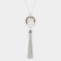 Mother of Pearl Tree of Life Pendant Drop Chain Tassel Necklace