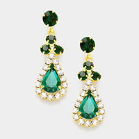 Pave Trim Crystal Rhinestone Dangle Earrings