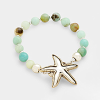Semi Precious Hammered Metal Starfish Stretch Bracelet