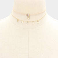 DREAM _ 2-Layered CZ Charm Choker Necklace