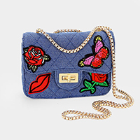 Denim Rose Butterfly Lip Patch Cross Bag