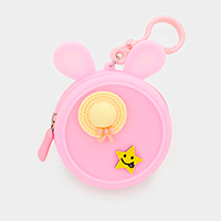 Character Silicone Coin Zipper Purse Keychain