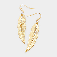 Pave Rhinestone Textured Metal Leaf Earrings