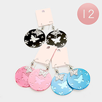 12 Pairs - Print Butterfly Round Dangle Charm Earrings