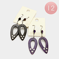 12 Pairs - Wood Teardrop Triple Rhinestone Earrings