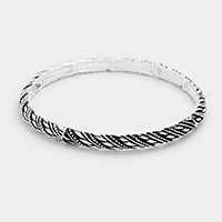Embossed Hammered Metal Stretch Bracelet