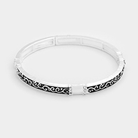 Rhinestone Embossed Hammered Metal Stretch Bracelet