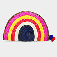 Half Round Straw Double Pom Pom Clutch Bag