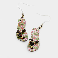 Printed Palm Tree Flip Flop Earrings