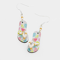 Printed Fruits Flip Flop Earrings