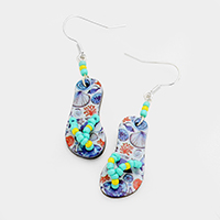 Printed Shell Flip Flop Earrings