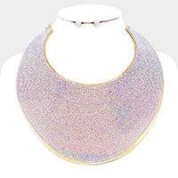Pave Rhinestone Wide Metal Armor Collar Necklace