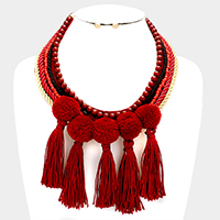 Twisted Cord Bead Statement Fringe Pom Pom Tassel Necklace