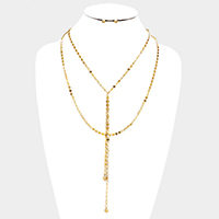 Layered Metal Chain Drop Y Shaped Necklace