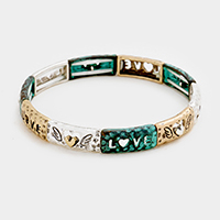Love _ Heart Metal Rectangular Stretch Bracelet