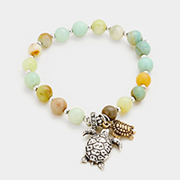 Beaded Semi Precious Turtle Stretch Bracelet