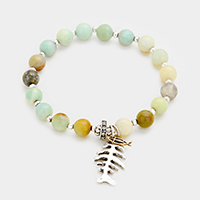 Beaded Semi Precious Fishbone Stretch Bracelet