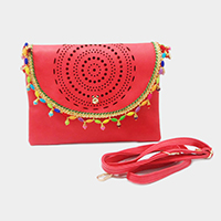 Fringed Faux Leather Cut Out Clutch Bag