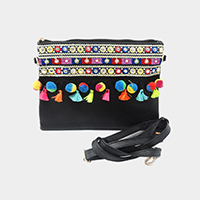 Embroidery Multi Colored Pom Pom Tassel Clutch Bag