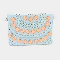 Faux Leather Cut Out Flower Cross / Clutch Bag
