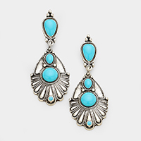 Patterned Metal Turquoise Dangle Earrings