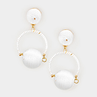 Thread Ball Hoop Earrings