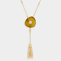 Druzy Tassel Toggle Necklace