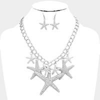 Crystal Rhinestone Starfish Statement Necklace