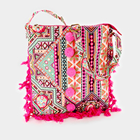 Print Pattern Pom Pom Tassel Cross Bag