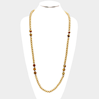 Metal Ball Semi Precious Bead Long Necklace