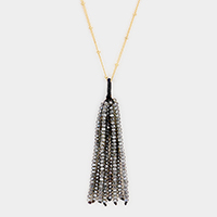 Faceted Tassel Long Necklace