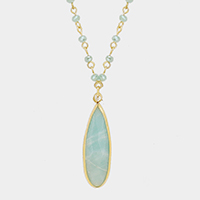 Beaded Semi Precious Teardrop Long Necklace