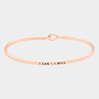 I can I will _ Thin Metal Pink Ribbon Hook Bracelet