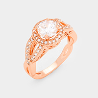 CZ Twisted Cut Out Halo Ring