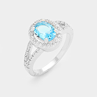 CZ Oval Halo Ring