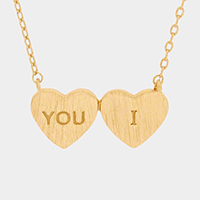 You I _ Metal Double Heart Pendant Necklace