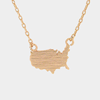 Metal USA Map Pendant Necklace