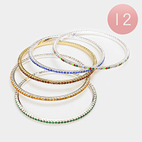 12 PCS - Pave Rhinestone Bangle Bracelets