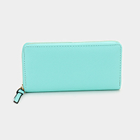 Solid Faux Leather Zipper Wallet