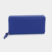 Solid PU Faux Leather Zipper Wallet