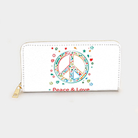 Peace Love _ Faux Leather Peace Mark Print Zipper Wallet