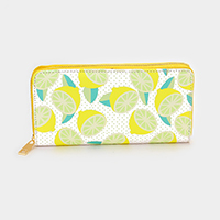Faux Leather Lemon Print Zipper Wallet