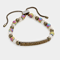 Pave Beaded Metal Bar Bracelet