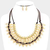 Weave Cord Abstract Metal Statement Necklace