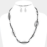 Weave Cord Textured Oval Metal Necklace