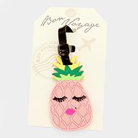 Pineapple Face Bon Voyage Rubber Luggage Tag