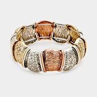 Textured Metal Square Stretch Bracelet