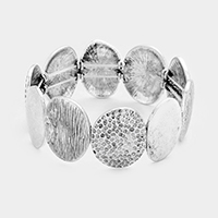 Textured Metal Round Stretch Bracelet
